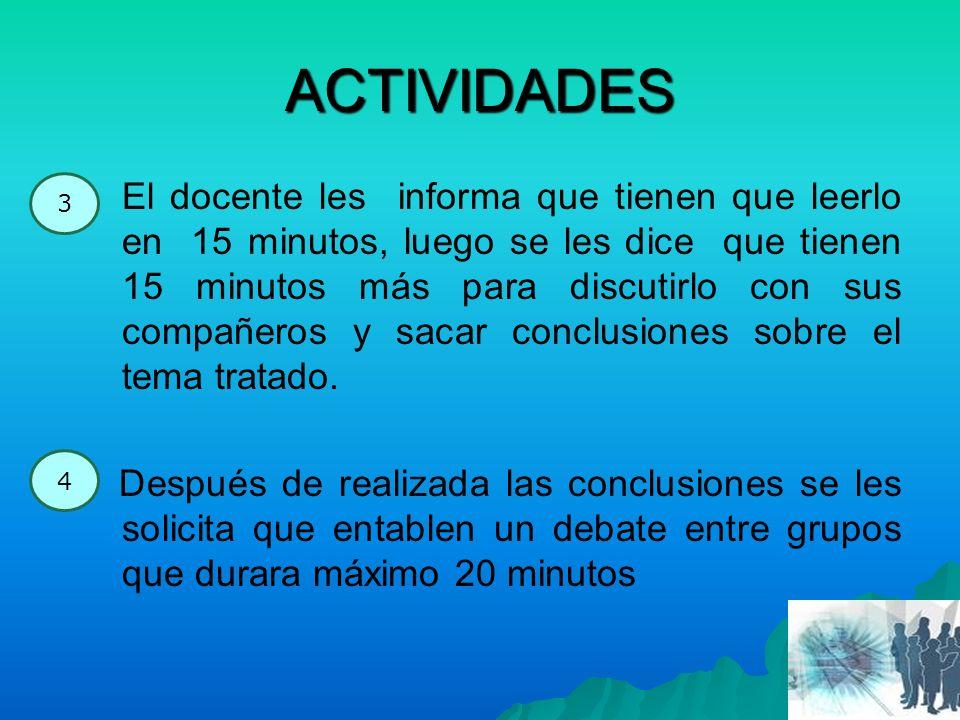 ACTIVIDADES El docente les informa que tienen que leerlo en 15 minutos, luego se les dice que tienen 15 minutos más para discutirlo con sus compañeros