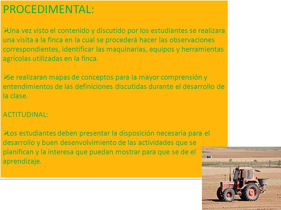 CONTENIDOS DE APRENDIZAJES : MAQUINARIAS AGRÍCOLAS: El Tractor, El Motocultor, La Cosechadora EQUIPOS AGRÍCOLAS: Arado, Rastra, Asperjadora, Espolvore