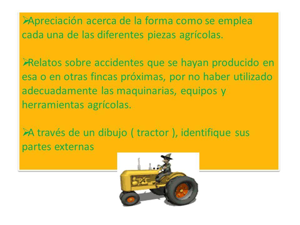 ACTIVIDADES: Efectuar la visita a una finca y elaborar un informe que contenga los siguientes aspectos: Tipos de maquinarias y equipos agrícolas que s