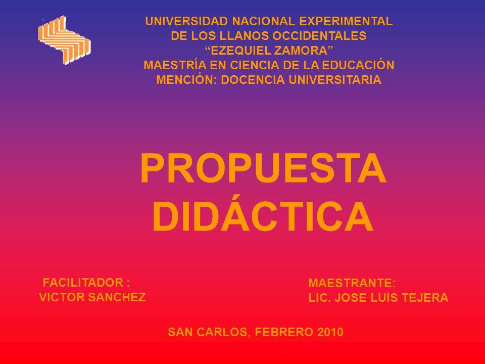 UNIVERSIDAD NACIONAL EXPERIMENTAL DE LOS LLANOS OCCIDENTALES EZEQUIEL ZAMORA MAESTRÍA EN CIENCIA DE LA EDUCACIÓN MENCIÓN: DOCENCIA UNIVERSITARIA FACILITADOR : VICTOR SANCHEZ MAESTRANTE: LIC.