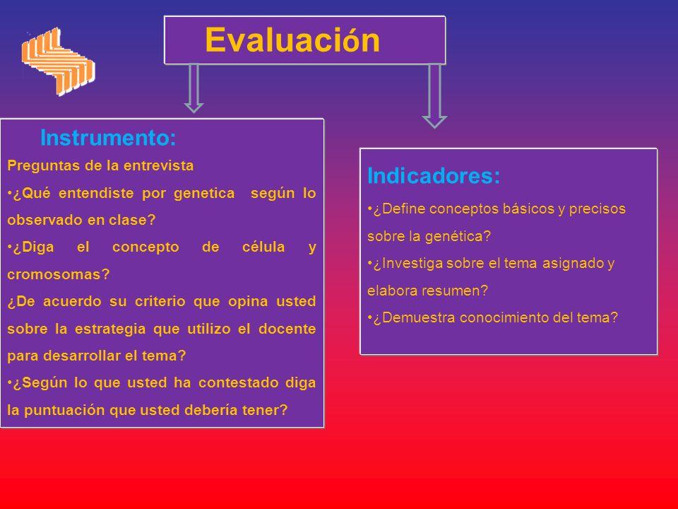 Evaluaci ó n Instrumento: Preguntas de la entrevista ¿Qué entendiste por genetica según lo observado en clase? ¿Diga el concepto de célula y cromosoma