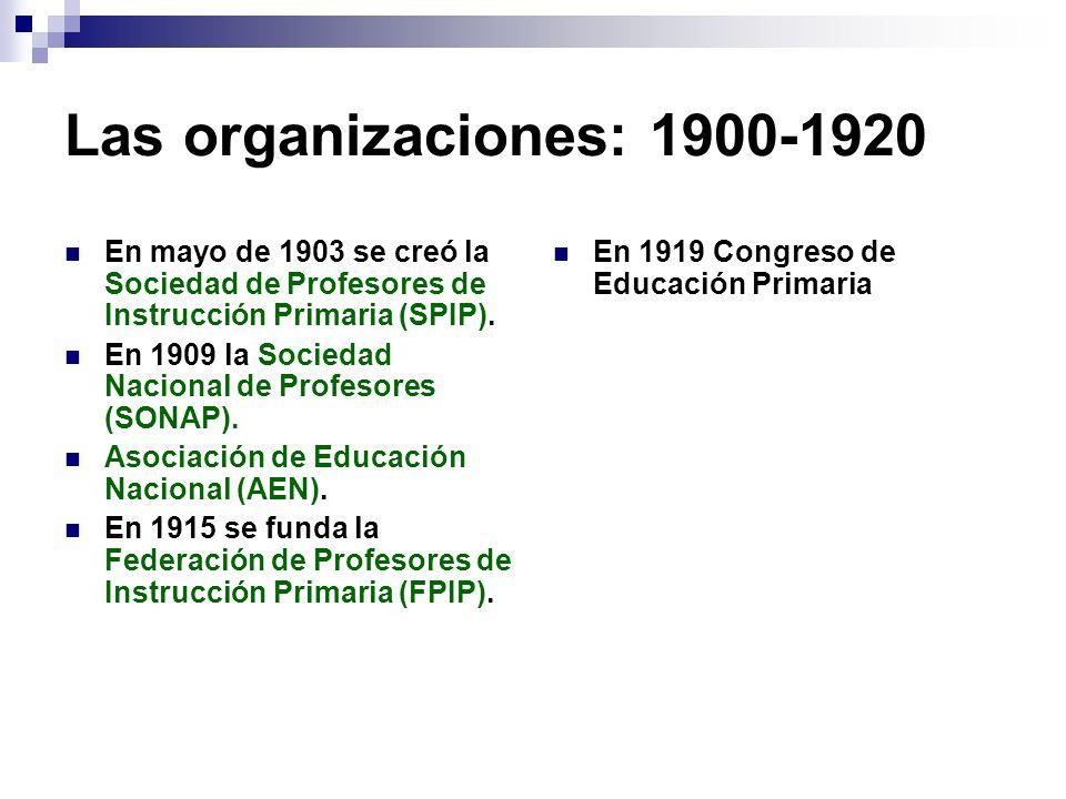 Las organizaciones: 1900-1920 En mayo de 1903 se creó la Sociedad de Profesores de Instrucción Primaria (SPIP). En 1909 la Sociedad Nacional de Profes