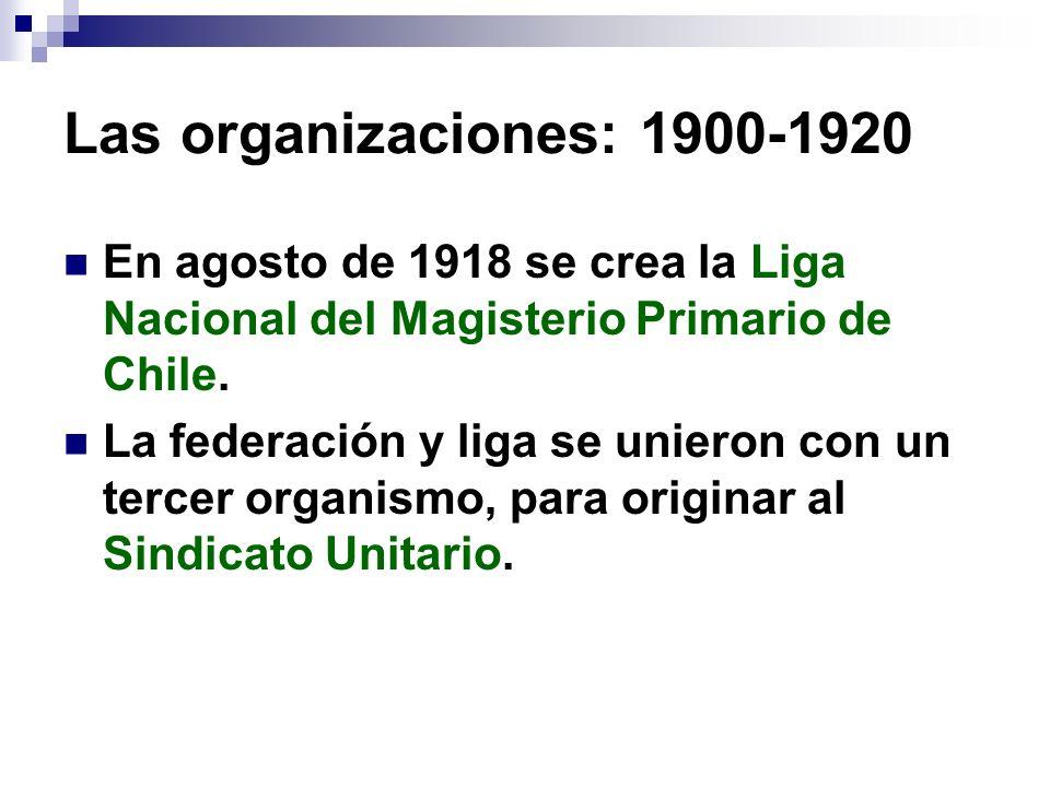 Las organizaciones: 1900-1920 En agosto de 1918 se crea la Liga Nacional del Magisterio Primario de Chile. La federación y liga se unieron con un terc