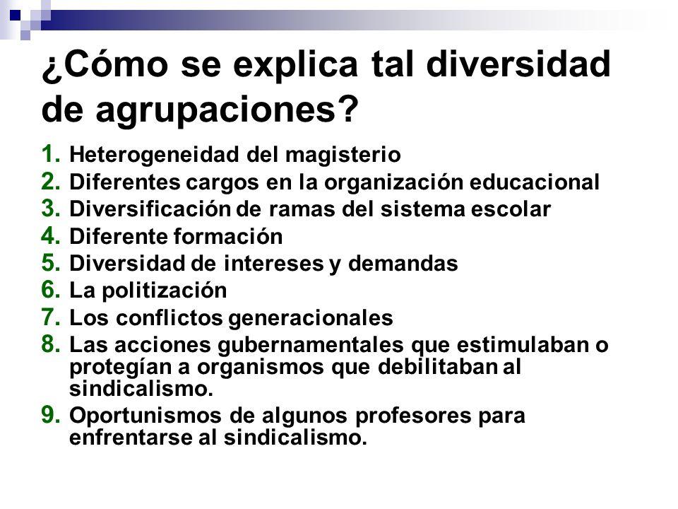 ¿Cómo se explica tal diversidad de agrupaciones? 1. Heterogeneidad del magisterio 2. Diferentes cargos en la organización educacional 3. Diversificaci