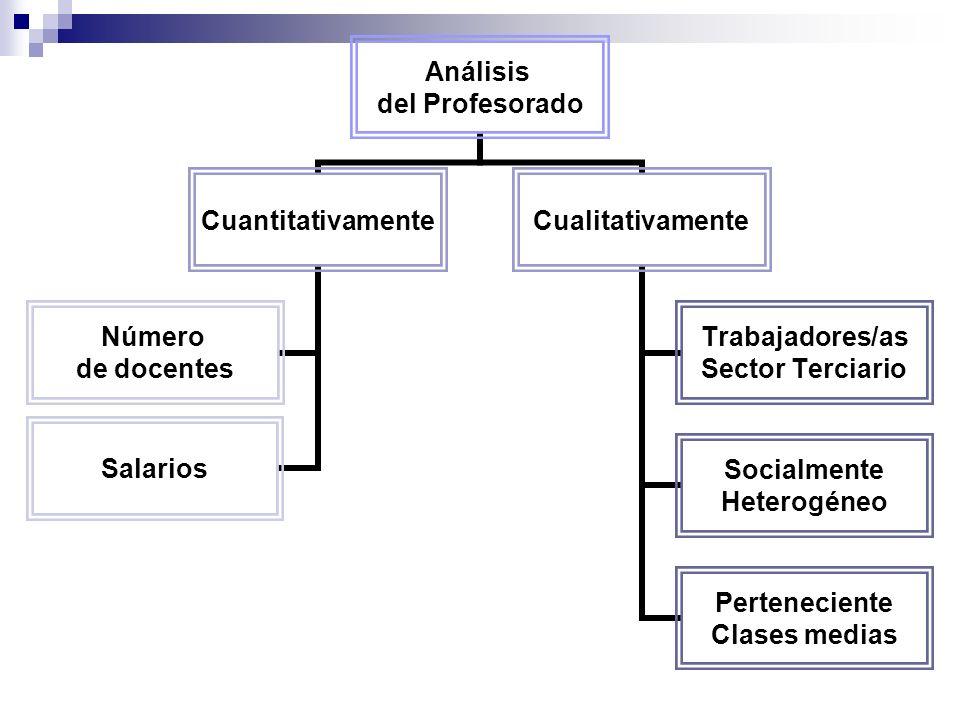 Análisis del Profesorado Cuantitativamente Número de docentes Salarios Cualitativamente Trabajadores/as Sector Terciario Socialmente Heterogéneo Perteneciente Clases medias
