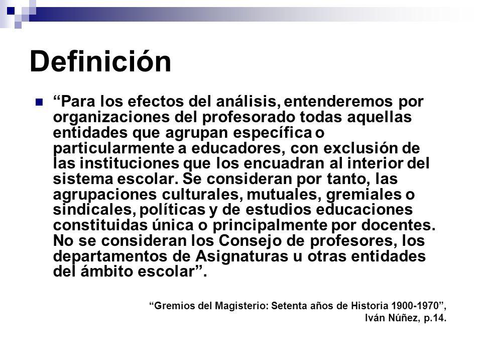 Definición Para los efectos del análisis, entenderemos por organizaciones del profesorado todas aquellas entidades que agrupan específica o particularmente a educadores, con exclusión de las instituciones que los encuadran al interior del sistema escolar.