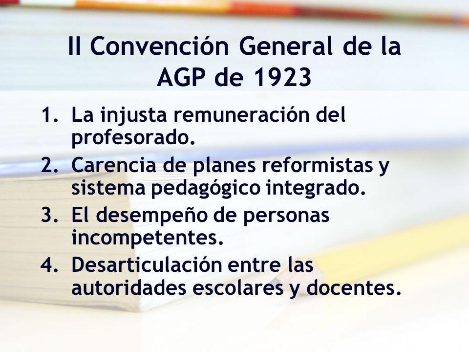 II Convención General de la AGP de 1923 1.La injusta remuneración del profesorado. 2.Carencia de planes reformistas y sistema pedagógico integrado. 3.