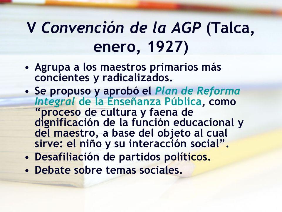 V Convención de la AGP (Talca, enero, 1927) Agrupa a los maestros primarios más concientes y radicalizados. Se propuso y aprobó el Plan de Reforma Int