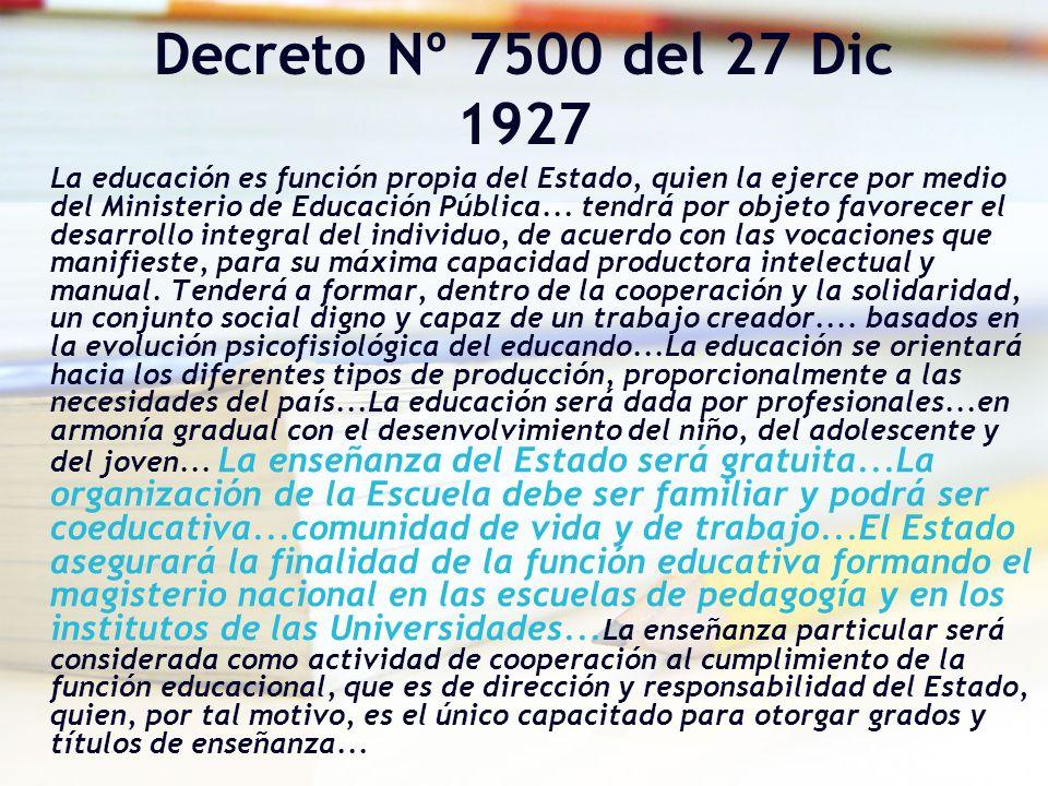 Decreto Nº 7500 del 27 Dic 1927 La educación es función propia del Estado, quien la ejerce por medio del Ministerio de Educación Pública... tendrá por