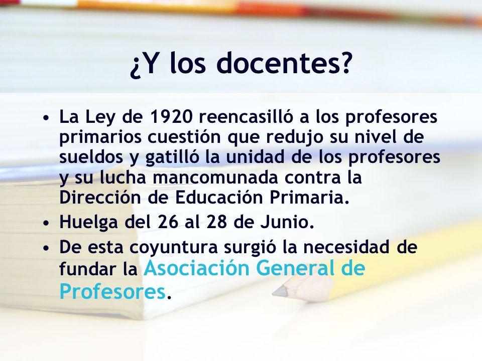 Sindicalismo Docente: 1923- 1928 A fines de 1922 se funda la Asociación de Profesores de Chile ( AGP ) Primera organización sindical Perduró hasta 1935