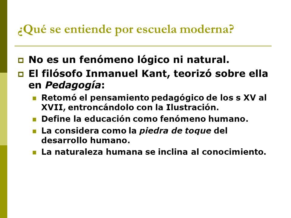 No es un fenómeno lógico ni natural. El filósofo Inmanuel Kant, teorizó sobre ella en Pedagogía: Retomó el pensamiento pedagógico de los s XV al XVII,
