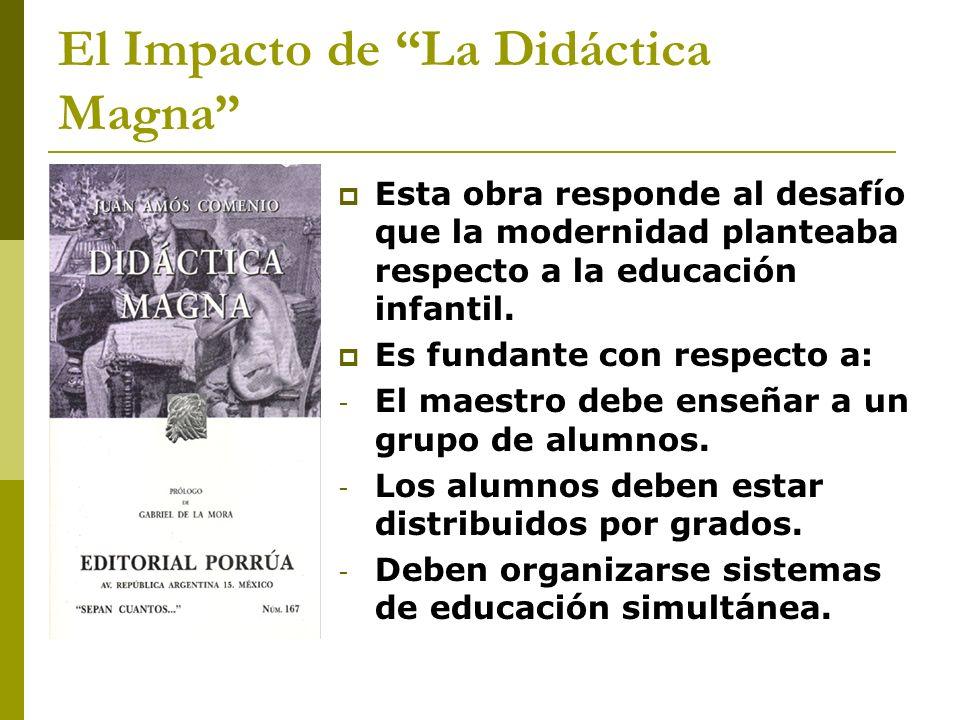 El Impacto de La Didáctica Magna Esta obra responde al desafío que la modernidad planteaba respecto a la educación infantil. Es fundante con respecto