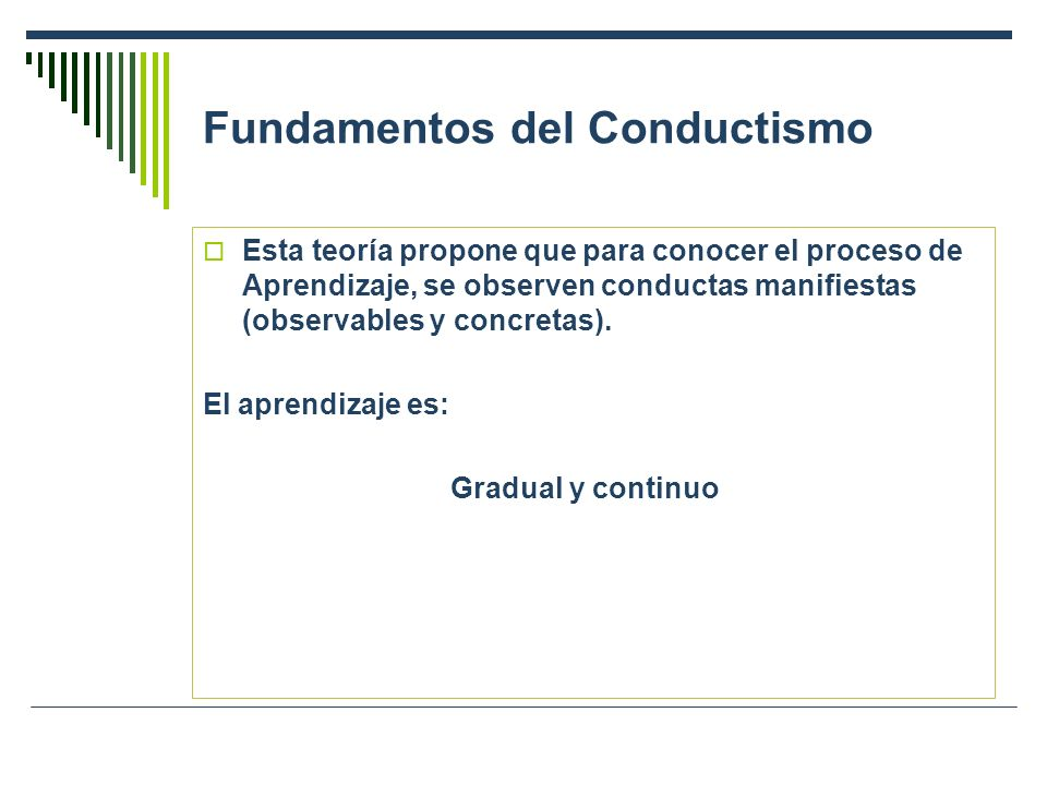 Fundamentos del Conductismo Esta teoría propone que para conocer el proceso de Aprendizaje, se observen conductas manifiestas (observables y concretas