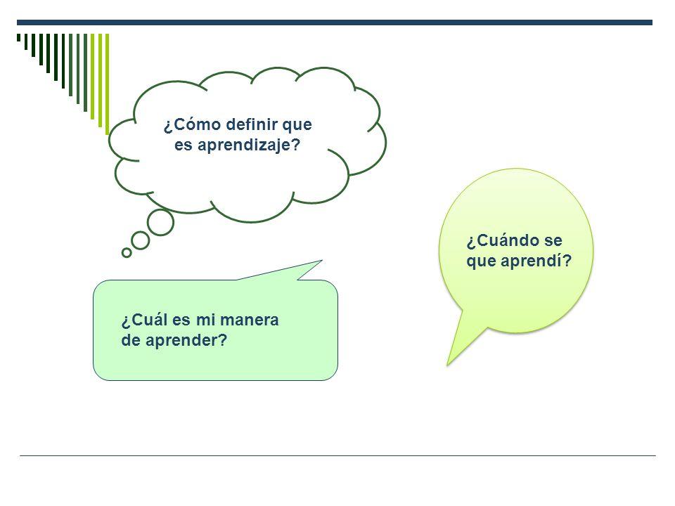 ¿Cómo definir que es aprendizaje? ¿Cuál es mi manera de aprender? ¿Cuándo se que aprendí?
