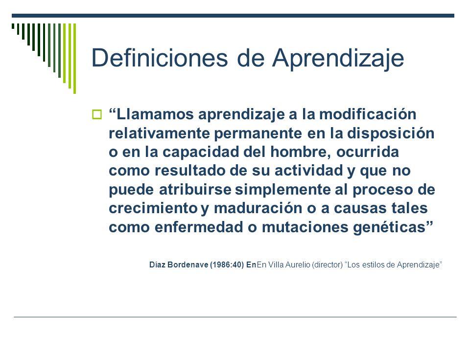 Definiciones de Aprendizaje Llamamos aprendizaje a la modificación relativamente permanente en la disposición o en la capacidad del hombre, ocurrida como resultado de su actividad y que no puede atribuirse simplemente al proceso de crecimiento y maduración o a causas tales como enfermedad o mutaciones genéticas Díaz Bordenave (1986:40) EnEn Villa Aurelio (director) Los estilos de Aprendizaje