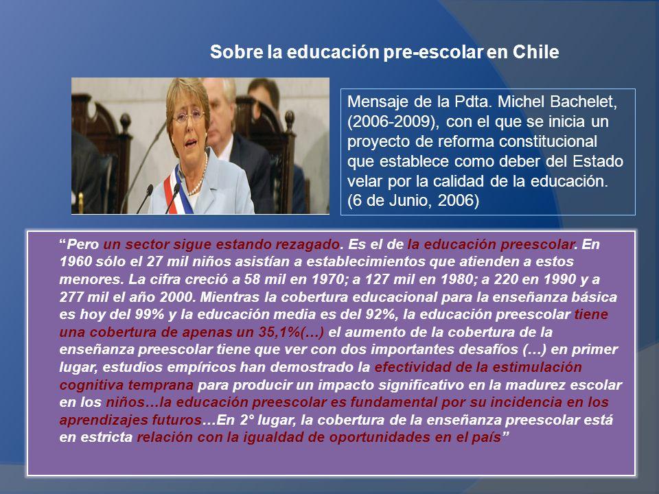 Sobre la educación pre-escolar en Chile Pero un sector sigue estando rezagado.