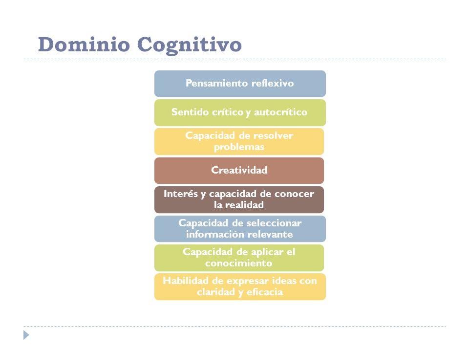 Dominio Cognitivo Pensamiento reflexivoSentido crítico y autocrítico Capacidad de resolver problemas Creatividad Interés y capacidad de conocer la rea