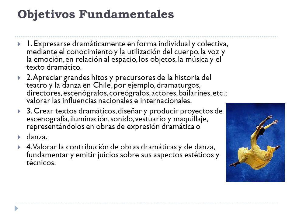 Objetivos Fundamentales 1. Expresarse dramáticamente en forma individual y colectiva, mediante el conocimiento y la utilización del cuerpo, la voz y l