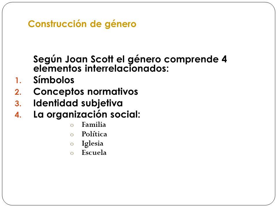 Construcción de género Según Joan Scott el género comprende 4 elementos interrelacionados: 1. Símbolos 2. Conceptos normativos 3. Identidad subjetiva