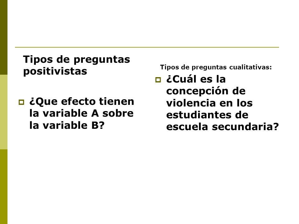 ¿Que efecto tienen la variable A sobre la variable B? ¿Cuál es la concepción de violencia en los estudiantes de escuela secundaria? Tipos de preguntas