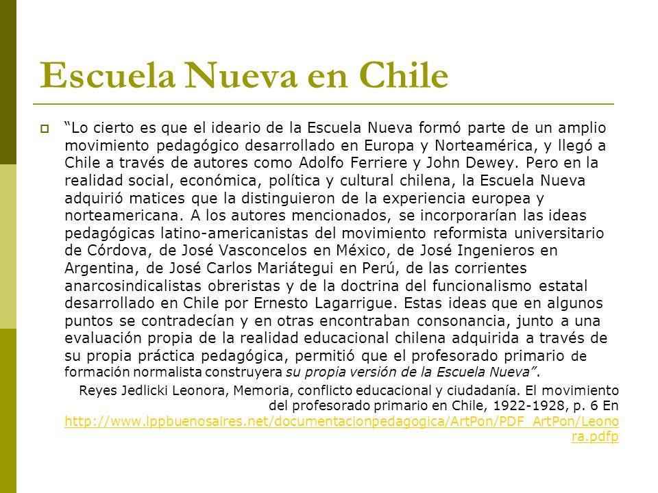 Escuela Nueva en Chile Lo cierto es que el ideario de la Escuela Nueva formó parte de un amplio movimiento pedagógico desarrollado en Europa y Norteam