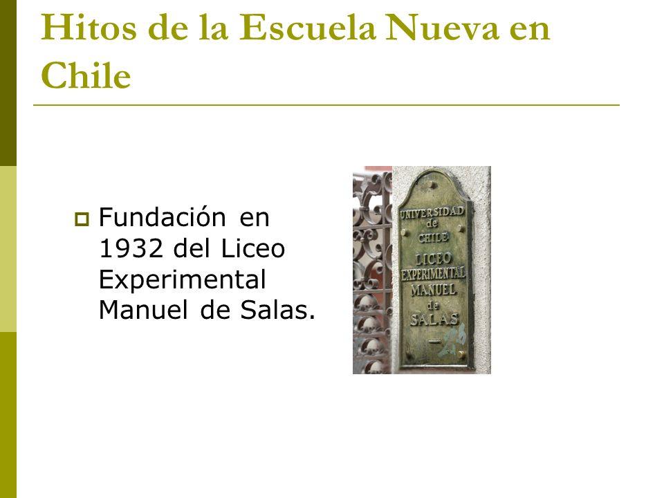 Hitos de la Escuela Nueva en Chile Fundación en 1932 del Liceo Experimental Manuel de Salas.