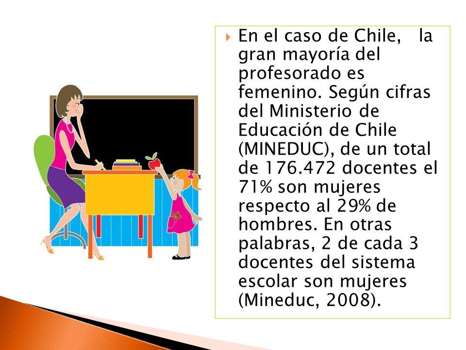 En el caso de Chile, la gran mayoría del profesorado es femenino.