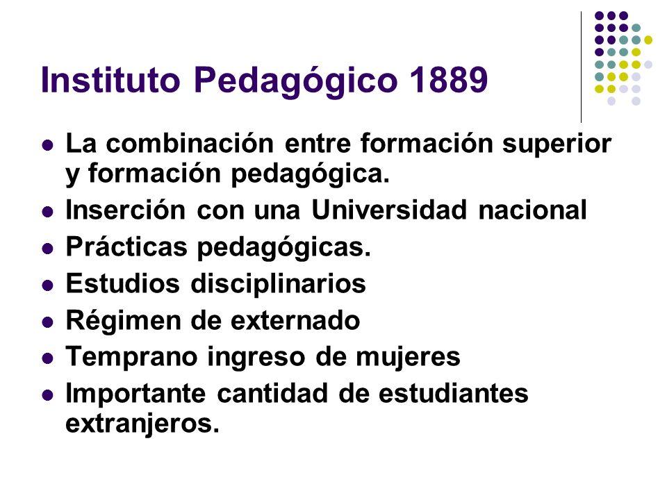 Instituto Pedagógico 1889 La combinación entre formación superior y formación pedagógica. Inserción con una Universidad nacional Prácticas pedagógicas