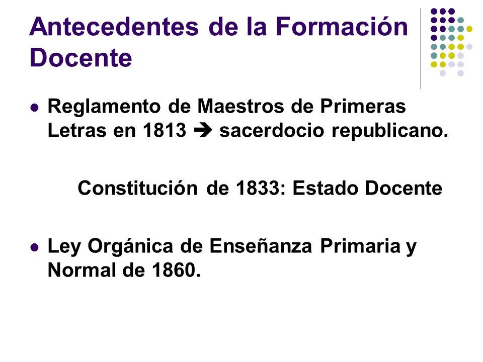 Antecedentes de la Formación Docente Reglamento de Maestros de Primeras Letras en 1813 sacerdocio republicano. Constitución de 1833: Estado Docente Le