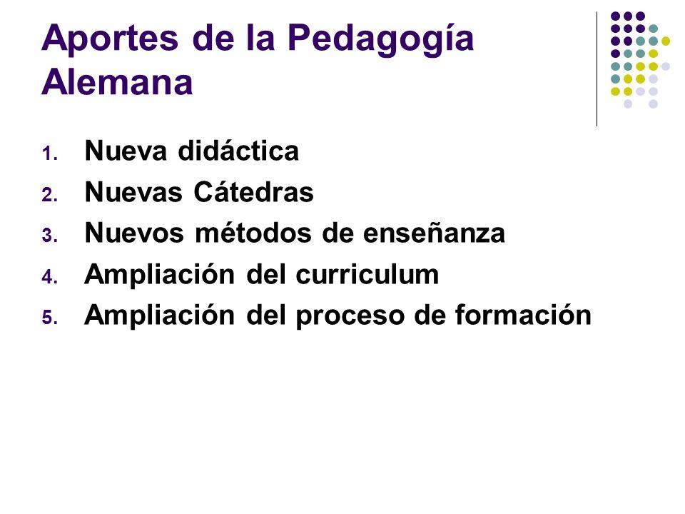 Aportes de la Pedagogía Alemana 1. Nueva didáctica 2. Nuevas Cátedras 3. Nuevos métodos de enseñanza 4. Ampliación del curriculum 5. Ampliación del pr
