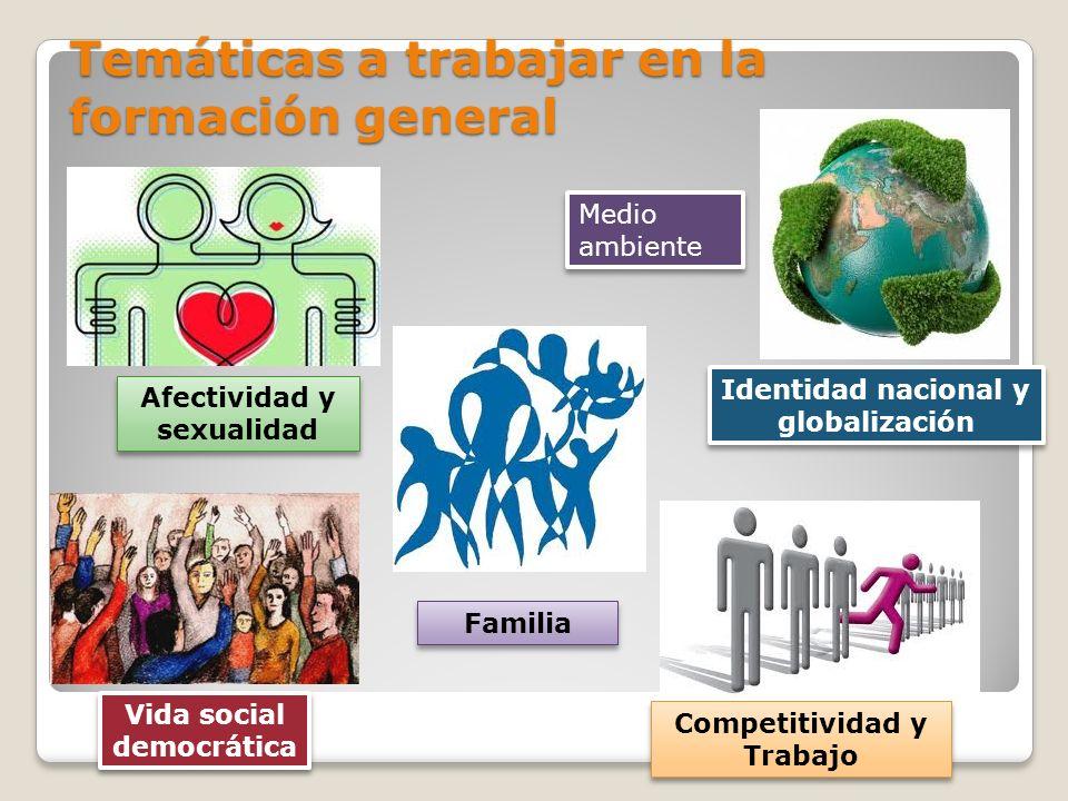 Temáticas a trabajar en la formación general Afectividad y sexualidad Familia Medio ambiente Identidad nacional y globalización Competitividad y Traba