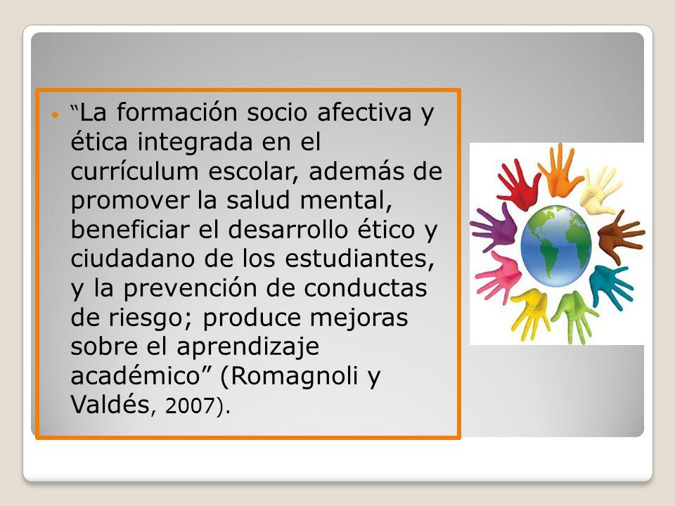 La formación socio afectiva y ética integrada en el currículum escolar, además de promover la salud mental, beneficiar el desarrollo ético y ciudadano