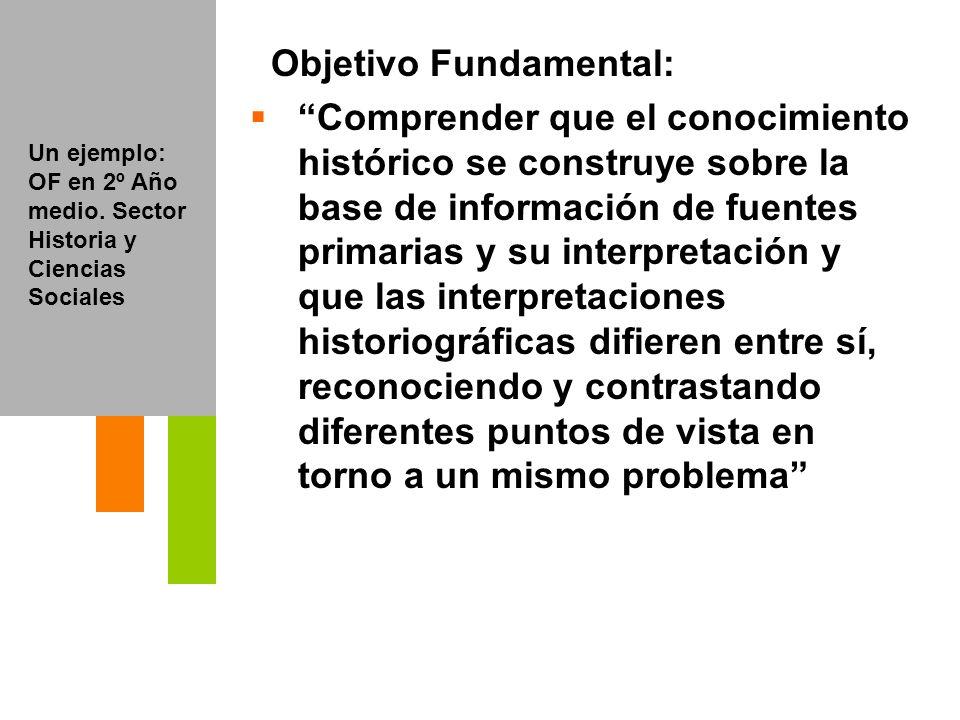 Objetivo Fundamental: Comprender que el conocimiento histórico se construye sobre la base de información de fuentes primarias y su interpretación y qu