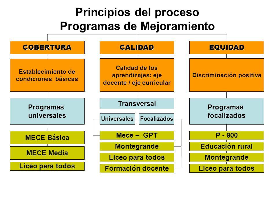 Principios del proceso Programas de Mejoramiento COBERTURACALIDADEQUIDAD Establecimiento de condiciones básicas Calidad de los aprendizajes: eje docen