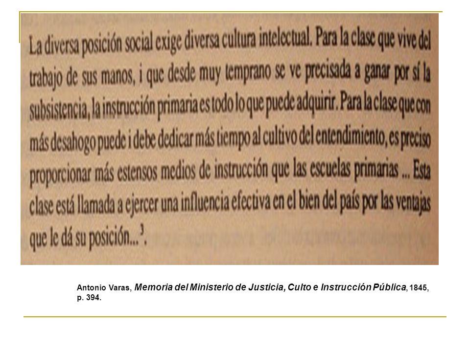 Antonio Varas, Memoria del Ministerio de Justicia, Culto e Instrucción Pública, 1845, p. 394.
