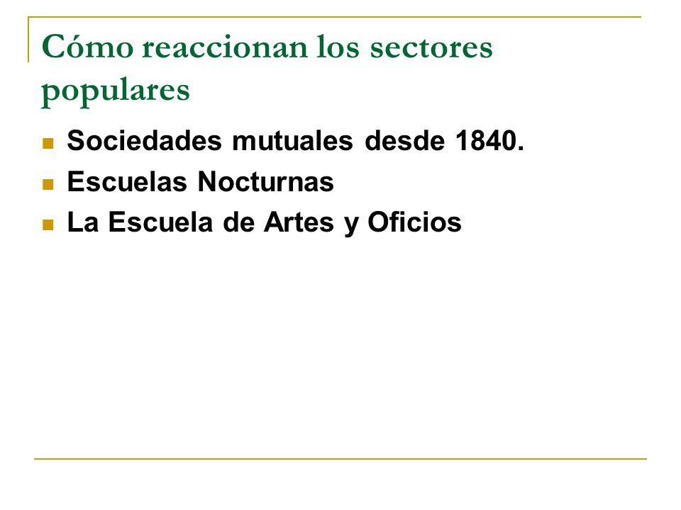 Cómo reaccionan los sectores populares Sociedades mutuales desde 1840.