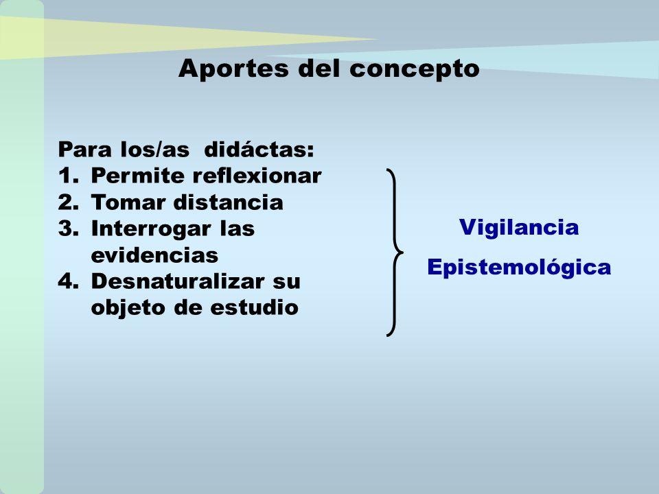 Para los/as didáctas: 1.Permite reflexionar 2.Tomar distancia 3.Interrogar las evidencias 4.Desnaturalizar su objeto de estudio Aportes del concepto V