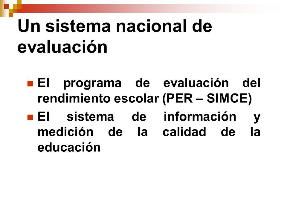 Un sistema nacional de evaluación El programa de evaluación del rendimiento escolar (PER – SIMCE) El sistema de información y medición de la calidad d