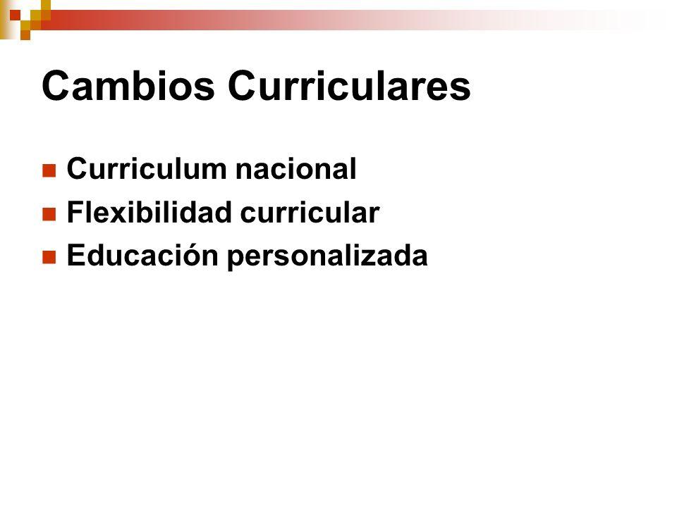 Cambios Curriculares Curriculum nacional Flexibilidad curricular Educación personalizada