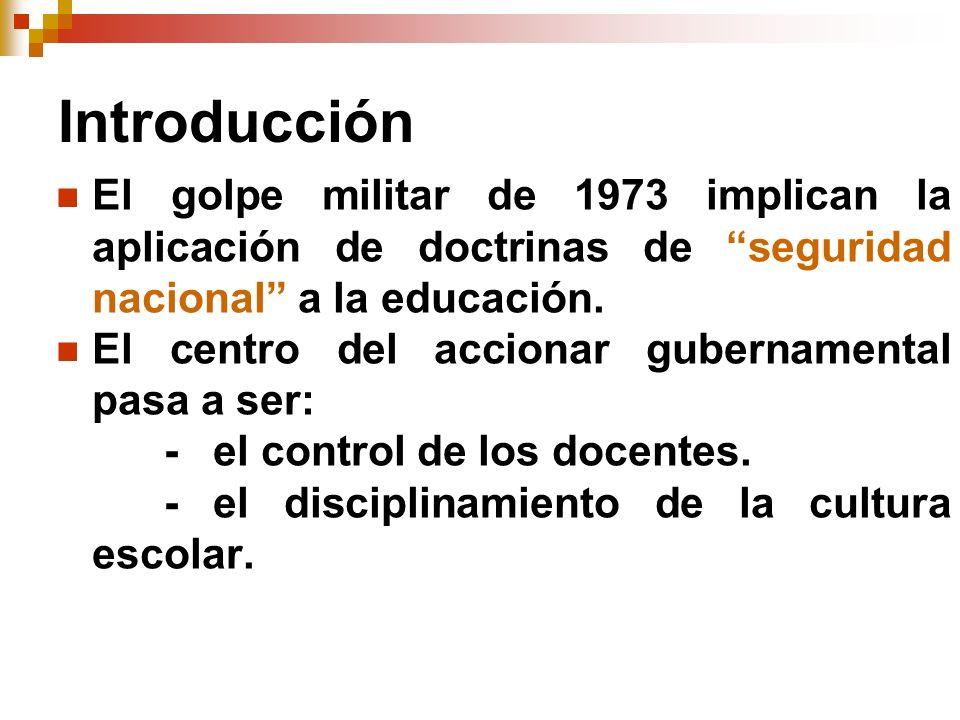 Fundamentación Doctrina de Seguridad Nacional Proceso de Modernización 1973-78 Imposición del Nuevo orden 1979-80 Lineamientos educacionales 1980-90 Consolidación Del sistema
