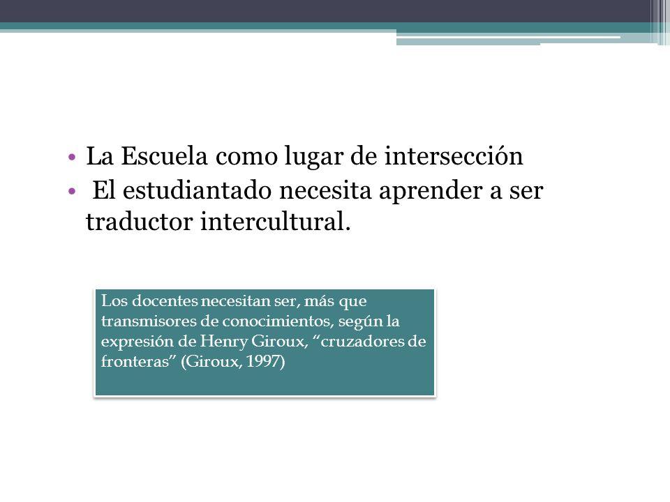 La Escuela como lugar de intersección El estudiantado necesita aprender a ser traductor intercultural. Los docentes necesitan ser, más que transmisore