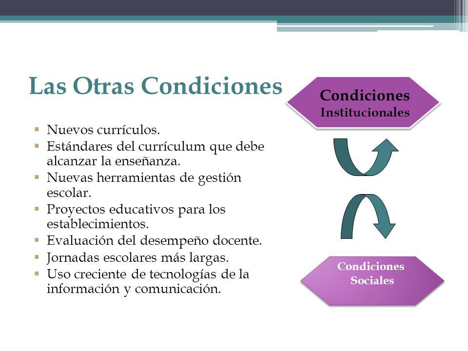Las Otras Condiciones Nuevos currículos. Estándares del currículum que debe alcanzar la enseñanza. Nuevas herramientas de gestión escolar. Proyectos e