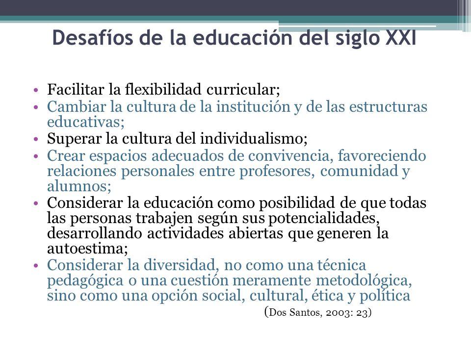 Desafíos de la educación del siglo XXI Facilitar la flexibilidad curricular; Cambiar la cultura de la institución y de las estructuras educativas; Sup