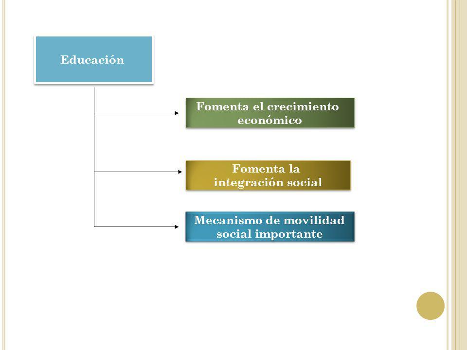 Educación Fomenta el crecimiento económico Fomenta el crecimiento económico Fomenta la integración social Fomenta la integración social Mecanismo de m
