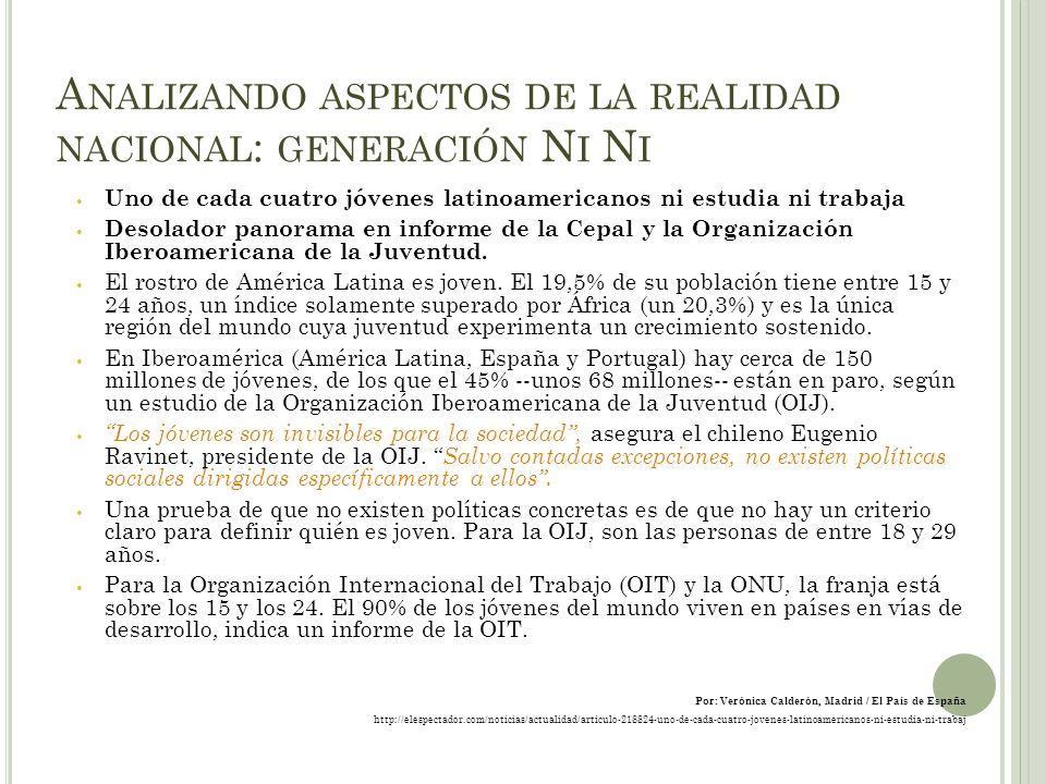 A NALIZANDO ASPECTOS DE LA REALIDAD NACIONAL : GENERACIÓN N I N I Uno de cada cuatro jóvenes latinoamericanos ni estudia ni trabaja Desolador panorama