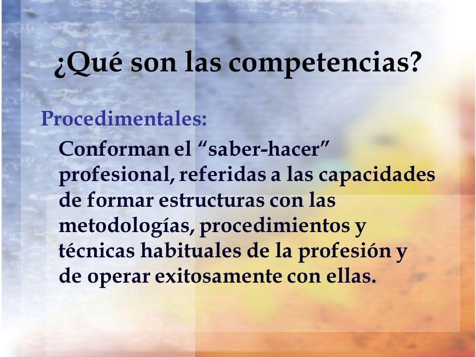 ¿Qué son las competencias? Procedimentales: Conforman el saber-hacer profesional, referidas a las capacidades de formar estructuras con las metodologí