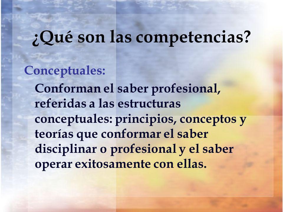 ¿Qué son las competencias? Conceptuales: Conforman el saber profesional, referidas a las estructuras conceptuales: principios, conceptos y teorías que