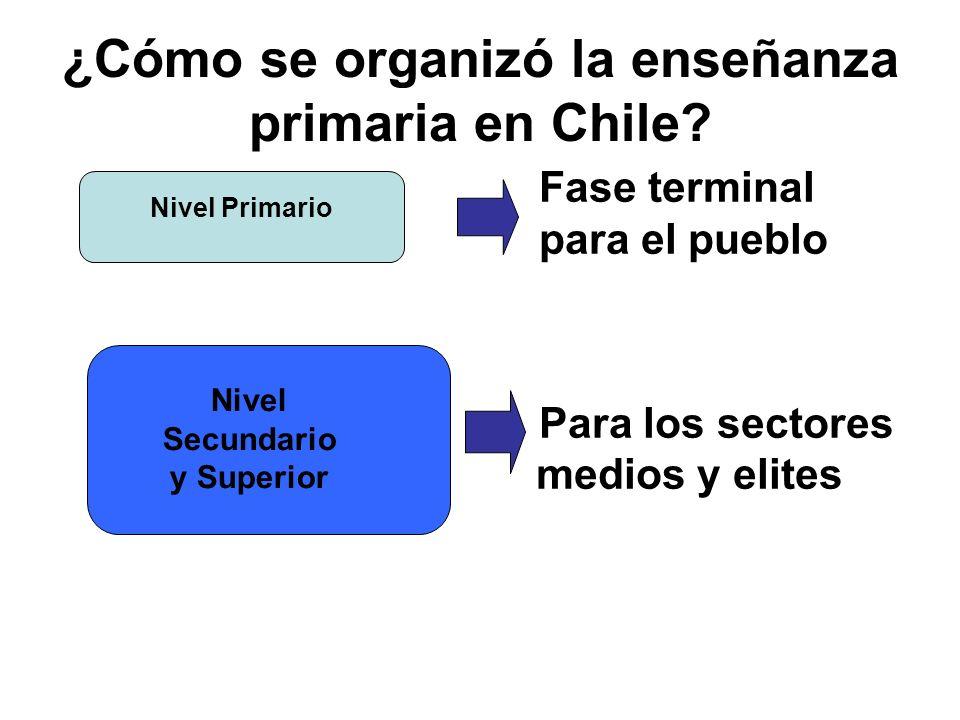 ¿Cómo se organizó la enseñanza primaria en Chile? Fase terminal para el pueblo Para los sectores medios y elites Nivel Secundario y Superior Nivel Pri