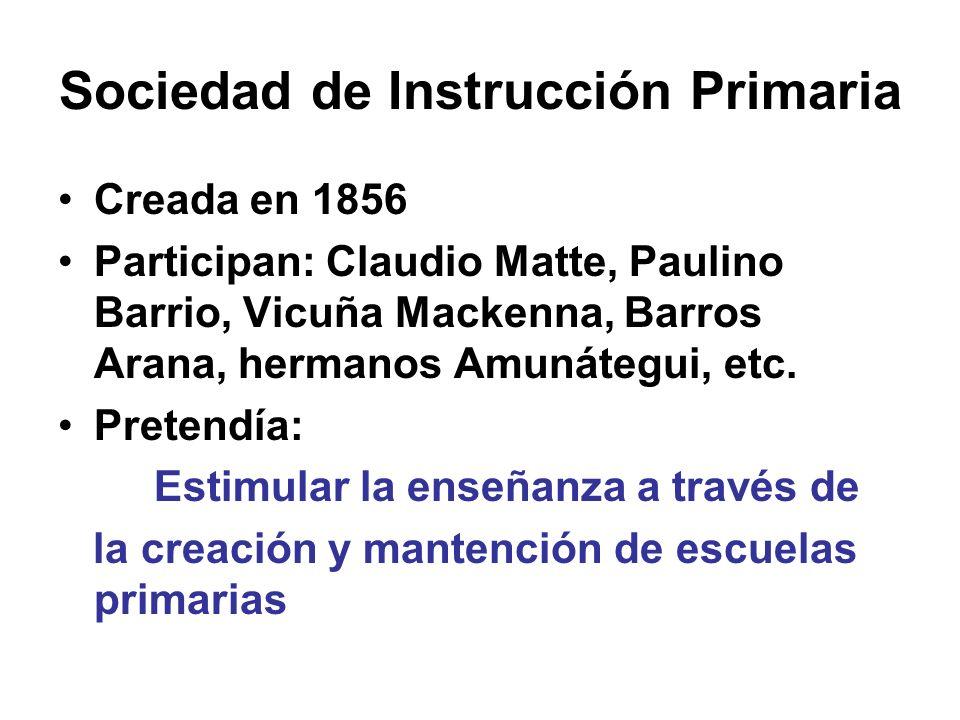Sociedad de Instrucción Primaria Creada en 1856 Participan: Claudio Matte, Paulino Barrio, Vicuña Mackenna, Barros Arana, hermanos Amunátegui, etc. Pr