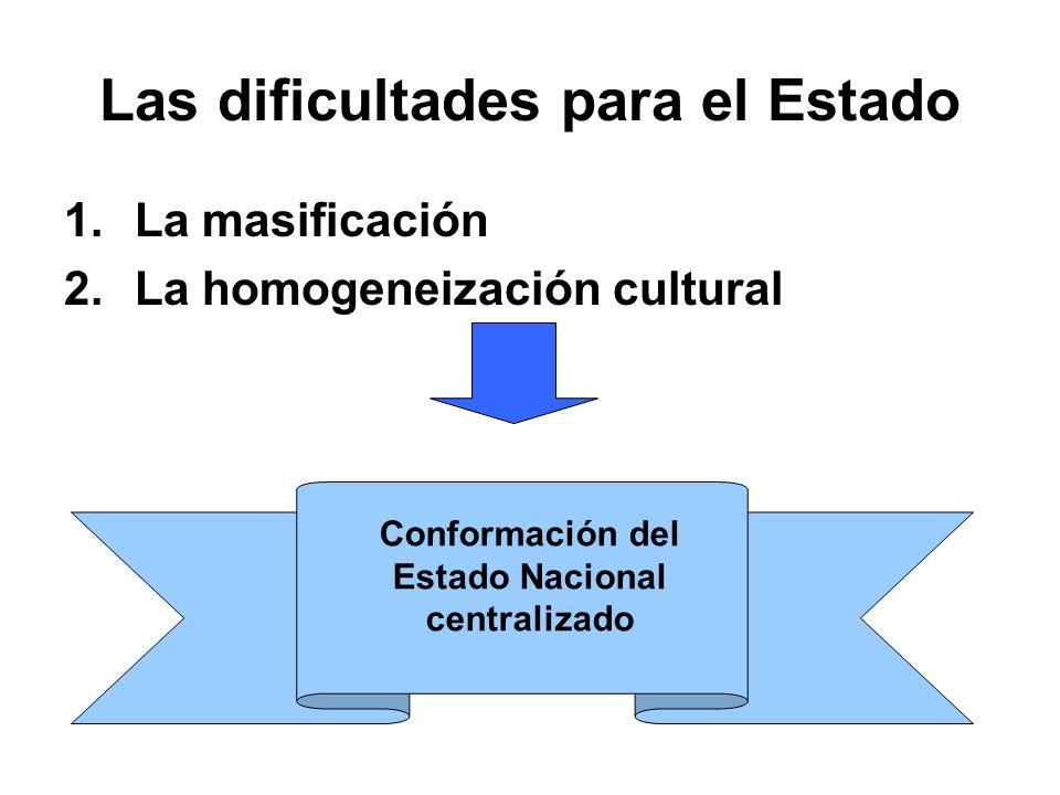 Las dificultades para el Estado 1.La masificación 2.La homogeneización cultural Conformación del Estado Nacional centralizado